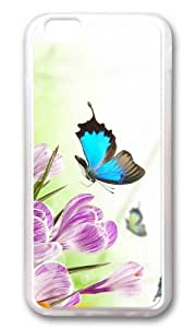 MOKSHOP Adorable butterflies crocuses Soft Case Protective Shell Cell Phone Cover For Apple Iphone 6 (4.7 Inch) - TPU Transparent