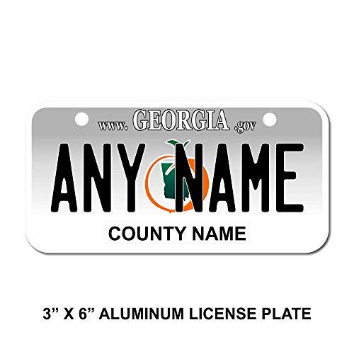 TEAMLOGO Personalized Georgia License Plate - Sizes for Kid's Bikes, Cars, Trucks, Cart, Key Rings Version 1 (3 X 6 Aluminum License Plate) ()