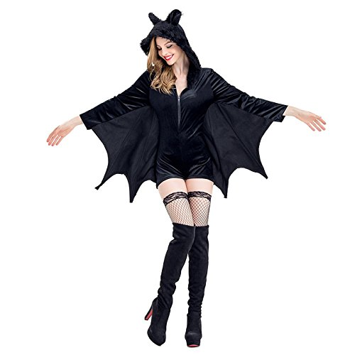 HDE Women's Bat Halloween Costume Hooded Bat Ear Romper Adult Sized (Last Minute Halloween Costumes Ideas For Couples)