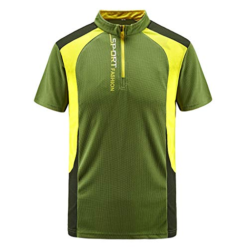 Opinionated Men's Outdoor Sports Zipper Neckline XL Short-Sleeved T-Shirt Quick-Drying Clothes Running Fitness Clothes Green Abercrombie Fitch Mens Polo