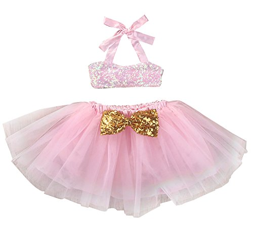 - Baby Girls Sequins Camisole Tube Top+ Sequined Bow Pink Tulle Tutu Ballet Skirt (1-2 Years)