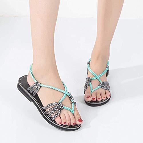 Sandali Sandali da Tacco con Colore Verde Donna Donna Dimensione Dimensione ZHRUI Basso UK con Cinturino per Flatform Gladiatore 6 Verde Lacci e 5 dq4F68x5