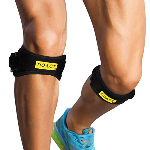 Patella Knee Strap, Knee Support Patella Brace Adjustable Patella Band with Shock-Absorbing Pad and Non-Slip Granules for Hiking, Running, Basketball, Arthritis, Tendonitis Pain Relief