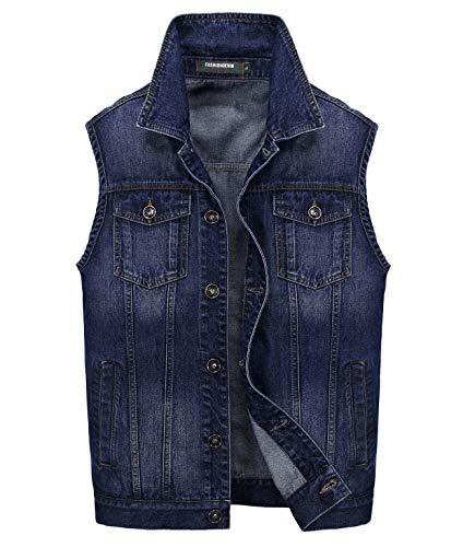JYG Men's Motorcycle Jean Vest (US XXX-Large, Dark Blue)