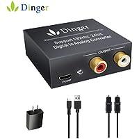 Dinger Digital to Analog Audio Converter, Digital Optical Coax to Analog RCA Audio Converter Support 192 KHz 24-bit, Audio Converter for PS3, Xbox, HDTV, Blu-ray
