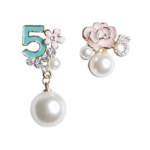 MISASHA Faux Imitation Pearl Turquoise Blue Floral Dangle Drop Earrings Studs (Turquoise)