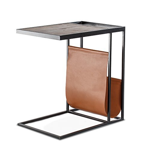 Avignon Table Dining (Madeleine Home Avignon C-Shaped Sofa Side End Tray Table | Elegant Slide Table for Office, Living Room, Bedroom, Dining | Heavy Duty Mango Wood Industrial Table with Genuine Leather Magazine Holder)