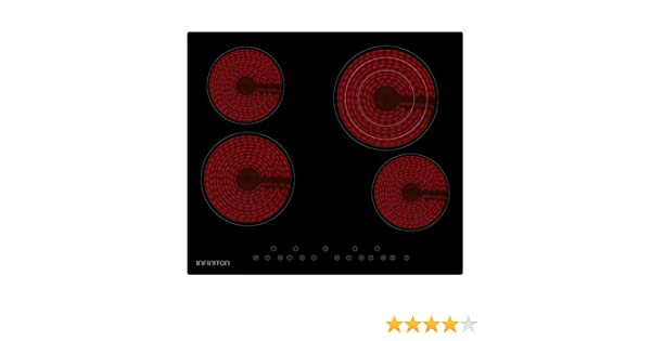 IN Placa VITROCERAMICA INFINITON VIT4BL41S (Deteccion de Olla, Control Tactil, 9 Niveles de Potencia) (4 Fuegos)