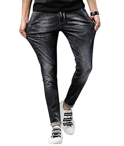 Lannister Fashion Hombres Jóvenes Hombres Popular Deportes Elásticos Ufige Jeans Skinny Verano Hombres Cómodos Partes Inferiores Respirables Al Aire Libre Negro