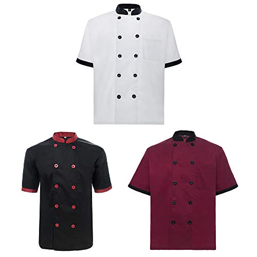 TOPTIE 3 Pack Men & Women Short Sleeve Chef Coat Jacket-SET6-XXL ()