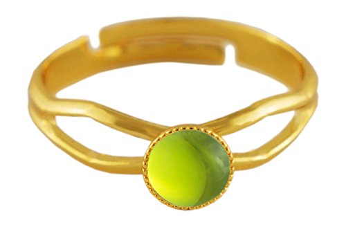 24K Gold Plated Minimalist Ring Adjustable Universal Size Round 5mm Crystal Olive Green Czech Glass Stone Handmade BohemStyle
