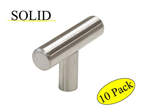 Satin Nickel Cabinet Pulls, Single Hole T Knob Overall Length 2IN(50mm, Stainless Steel Pulls for Furniture Drawer, Bathroom Wardrobe Kitchen Cupboard Door Handle,10 Piece Per ()