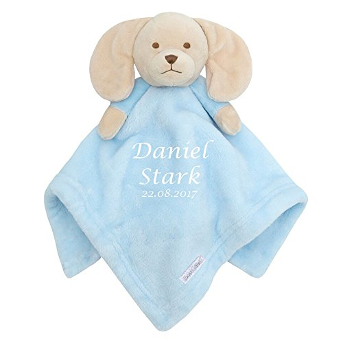 Blanket Gift Set Baby Boy Personalised Embroidered Baby Comforter Blue Puppy