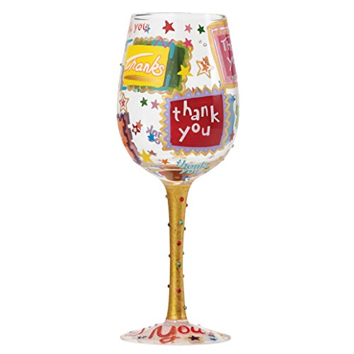 "Designs by Lolita ""Thank You Thank You"" Hand-painted Artisan Wine Glass, 15 - Thank For The You Gift"