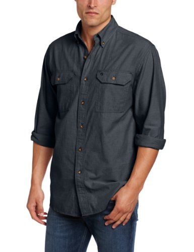 Carhartt Men's Fort Long Sleeve Shirt Lightweight Chambray Button Front Relaxed Fit,Black Chambray,XX-Large