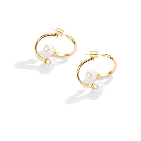 1bc6ae1d7 Buy Fashion Artificial Pearl Girls Earrings - Individuality Irregularity  Alloy Earring Sweet Style Auricular needling Online at Low Prices in India  ...