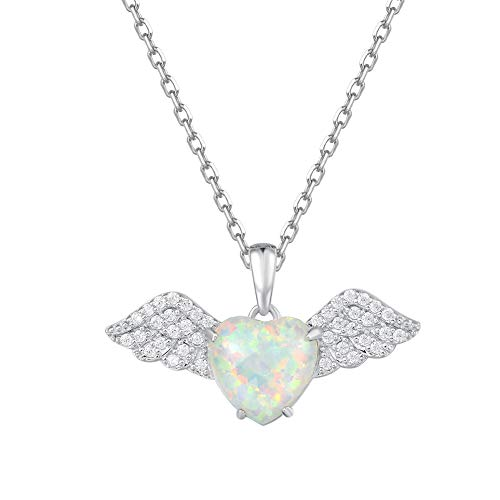 Fancime 925 Sterling Silver White Created Opal Angel Pendant Necklace Cubic Zirconia CZ Wings Jewelry For Women Girls 18