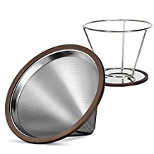 Pour Over Coffee Filter by CraftPour - Stainless Steel Coffee Dripper With Stand For Mug Or Chemex Reusable Cone Brew Paperless Coffee Maker