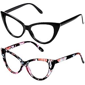 SOOLALA Ladies 52mm Lens Designer Cat Eye Reading Glasses Customized Strengths (2 Pairs/Black + Floral, 0)