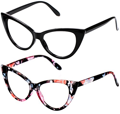 (SOOLALA Ladies 50mm Lens Fashion Designer Cat Eye Reading Glasses Customized Strengths, BlackFloral, 0.5)
