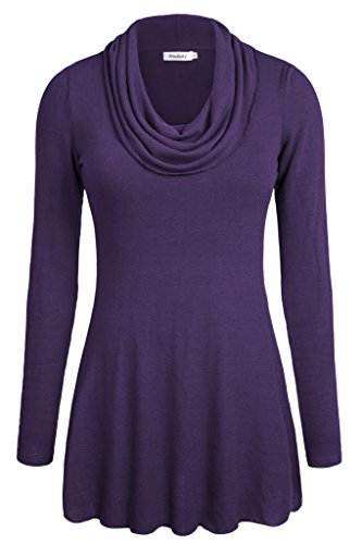Ninedaily Women Thin Tops Long Sleeve Cowl Neck Tunic Blouse Purple XL