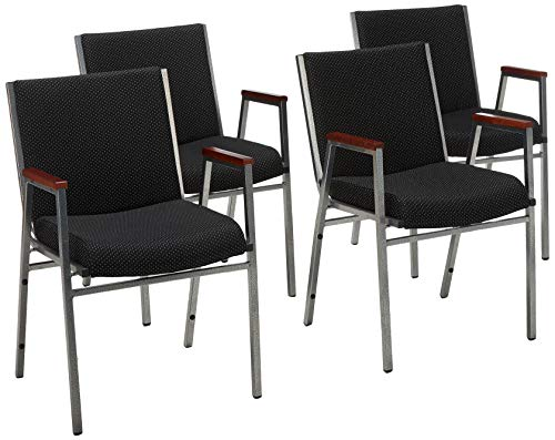 HERCULES Series Heavy Duty, 3'' Thickly Padded, Upholstered Stack Chair with Arms Black Patterned/Fabric