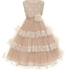 Little Girls Darling Lace Princess Easter Pageant Flowers Girls Dresses Champagne Size 2