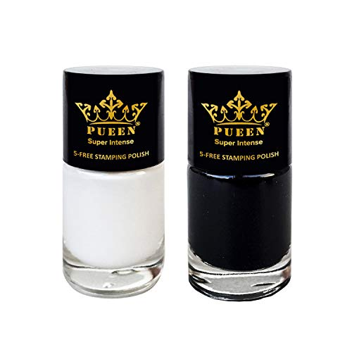 PUEEN Must Have Stamping Polish Collection Set Big 5-Free Formula Nail Color Lacquer (805 - Black Jack + 806 - Pure White) - BH000872
