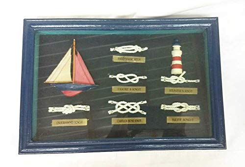 Home For ALL The Holidays Framed Nautical Knots Shadow Box 12 x 8 (Blue)