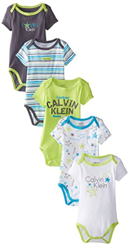 9f16ff46f Calvin Klein Baby Boys Newborn 5 Pack Creepers Lime and Blue Group ...