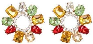LSZFCHEH Pendientes Colgantes de Cristal Multicolores de Moda para Mujer Pendientes Colgantes de Bohemia Pendientes de joyería Brincos