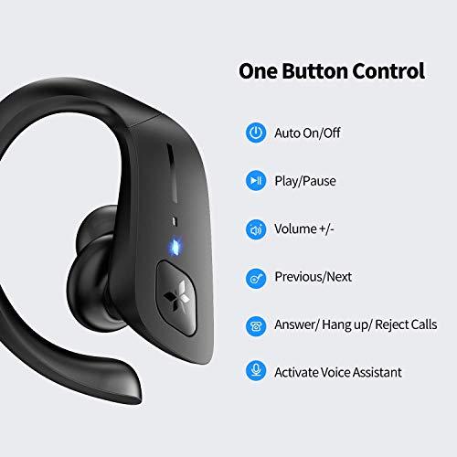 Axloie Wireless Earbuds Sport, Bluetooth 5.0 Headphones True Wireless Deep Bass in-Ear Mini Stereo IPX7 Waterproof 25H Playtime Wireless Earphones with Charging Case for Running Workout Gym Black