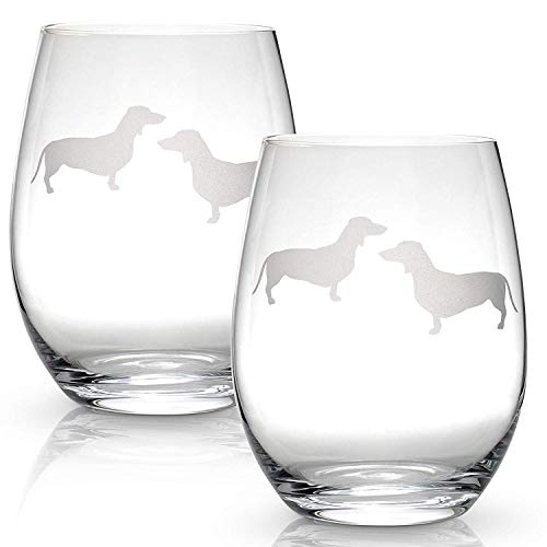ine Glasses (Set of 2) | Unique Gift for Dog Lovers | Hand Etched with Breed Name on Bottom ()