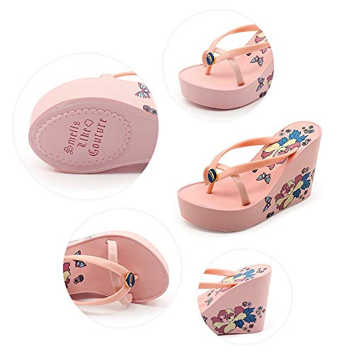Pink 5 Woman Flip Flops Lulyl Summer Heel Uk High Super Platform Wedges vwqB1BzC