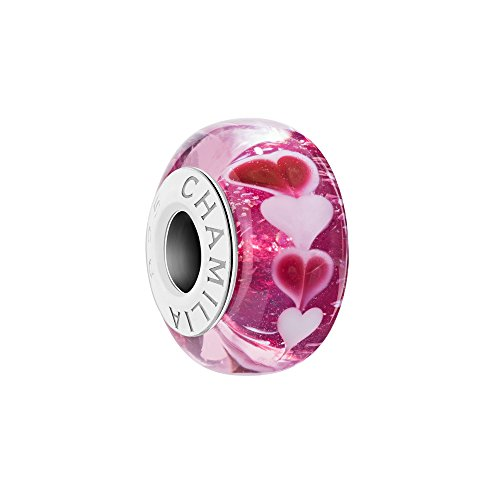 - Chamilia Womens Sweet Hearts Charm - Strawberry With Murano Glass, Pink, 0