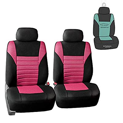 FH Group FB068102 Premium 3D Air Mesh Seat Covers Pair Set (Airbag Compatible) w. Gift, Pink/Black Color- Fit Most Car, Truck, SUV, or Van: Automotive