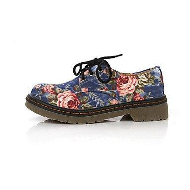 GLL&xuezi Damen Stiefel Neuheit Komfort Herbst Winter PU Normal Kleid Schnürsenkel Flacher Absatz Schwarz Blau Flach black
