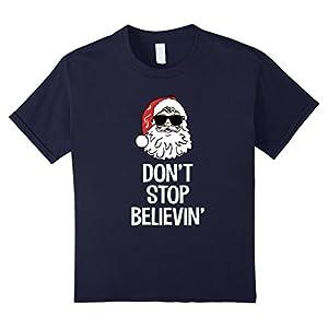 Kids Don't Stop Believin' Funny Santa Sunglasses Xmas Pun T-Shirt 12 Navy