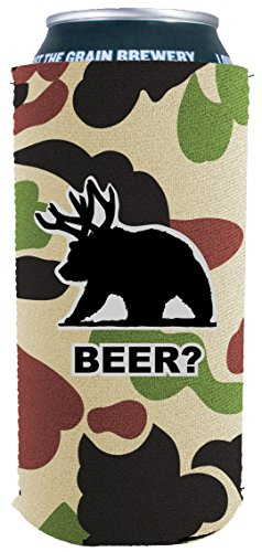 Coolie Junction Beer Bear Funny 16 oz. Can Coolie (Camo)