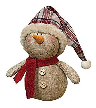 Americana Snowman (Rustic Stuffed Fabric Snowman with Plaid Santa Hat Country Christmas Decor)