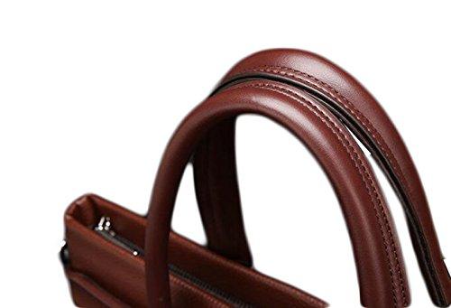 Bolso Del Hombre De Negocios Bolso Cruzado Sección Documentos De La Computadora De Cuero Bolso Hombres Paquete Diagonal De Gran Capacidad Brown