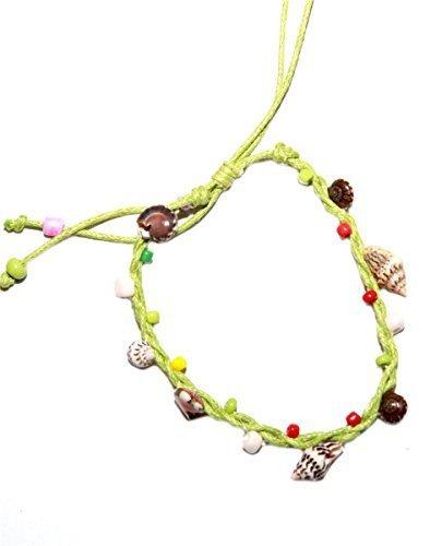 GK30 - grünes Handgelenks- Fußkettchen mit diversen Muscheln und Perlen aus Bali, Umfang verstellbar