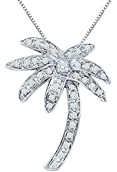 Diamond Palm Tree Pendant with Chain in 14K Yellow/White Gold (1/4 cttw)