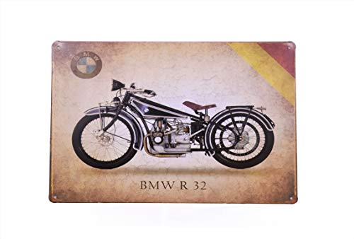 H&K BMW R32 Motorcycle Retro Metal Tin Sign Posters Wall Decor 12X8-Inch (BMW R32)