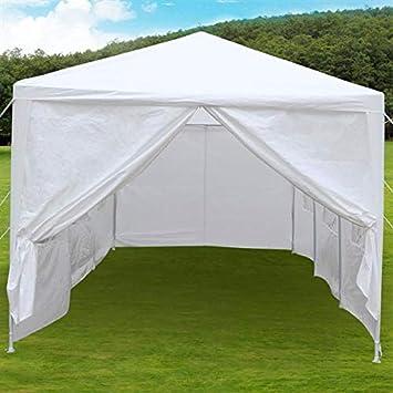 Tinkertonk - Toldo para fiestas y bodas al aire libre resistente de 3 x 9 m, pabellón para quiosco, con 8 paredes laterales desmontables, color blanco: ...