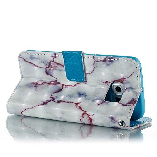 Funda Samsung Galaxy S6 Edge Caja de cuero [Protector de pantalla HD gratis],KaseHom Wallet Design Personalizado Mármol patrón artístico Flip Magnetic Notebook Holster con[Soporte de la tarjeta] [corr Mármol#5