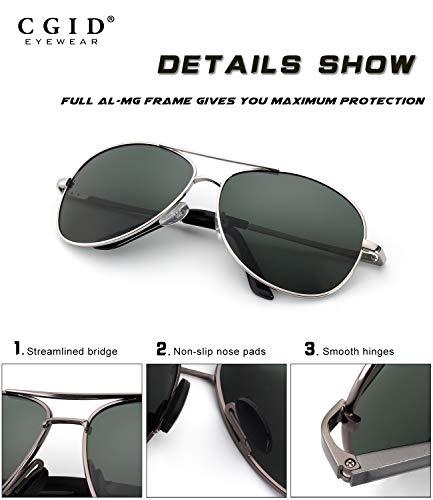 polarizadas resorte Plata CGID de Pilot aleación duplicadas Mg de de gafas gafas para bisagras Verde de sol completas Hombres B Al Mujeres UV400 GA61 sol Prima qqOSr6v