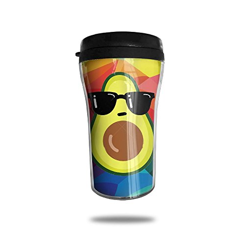 Novelty Travel Mugs- Funny Cup With Funny Avocado With Black Sunglasses - Sunglasses No Minimum Printed