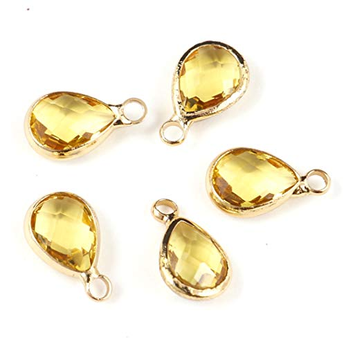 10pcs November Topaz Yellow Birthstone Charms 14x8mm Teardrop Crystal Beads Gold Plated Brass for Jewelry Craft Making CCP16-11