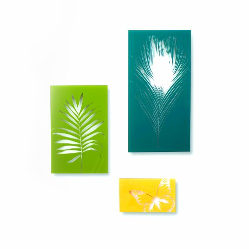 Umbra Garden Colorful Glass Wall Decor Tiles, Set of 3